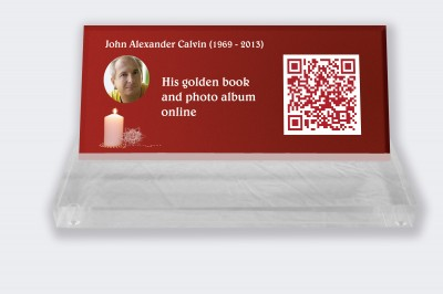 Funeral placa personalizada : Pequeña placa conmemorativa código QR - Vela con fondo rojo
