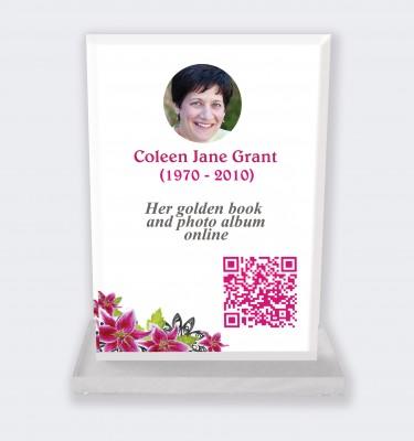 Funeral placa personalizada : Gran placa conmemorativa código QR - Hibisco fondo blanco