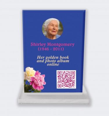 Funeral placa personalizada : Gran placa conmemorativa código QR - Flores silvestres fondo azul