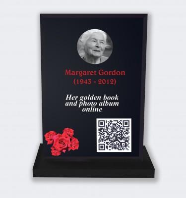 Funeral placa personalizada : Gran placa conmemorativa código QR - Rosas rojas fondo negro